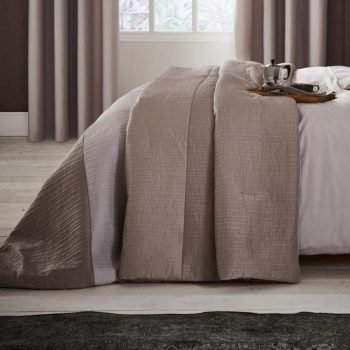 Catherine Lansfield Ornate Ribbed Bands Natural Bedspread