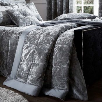 Catherine Lansfield Crushed Velvet Silver Bedspread