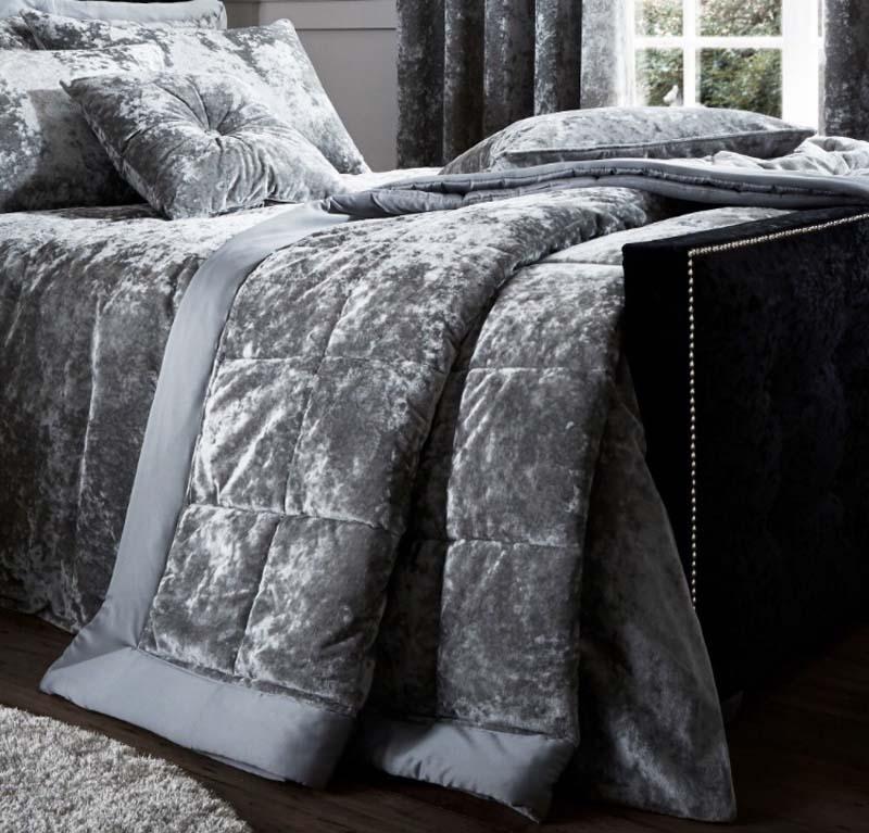 Catherine Lansfield Crushed Velvet Silver Bedspread Ger