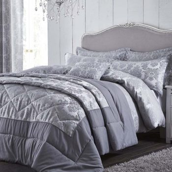 Catherine Lansfield Damask Jacquard Silver Bedspread