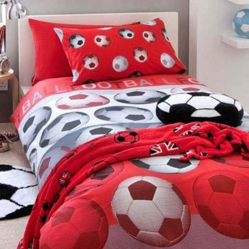 Catherine Lansfield Football Red Single Duvet Cover