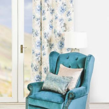 "Scatterbox Floral Azure Curtains 105""x90"""