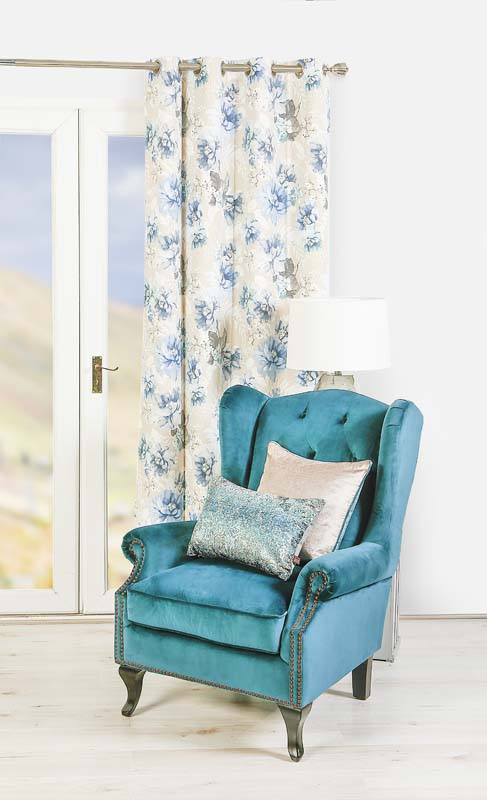 Scatterbox Floral Azure Curtains 105x90