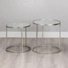 Avery 2 Silver Side Tables Mirror