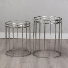 2 Silver Side Tables Mirror