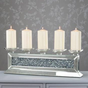 Crystals 5 piece long candleholder