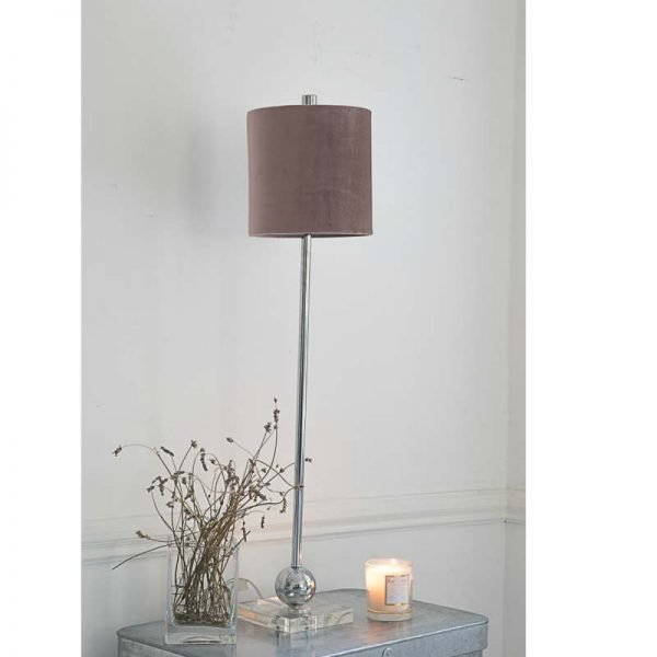 Buffet Lamp Chrome Vintage Pink Velvet