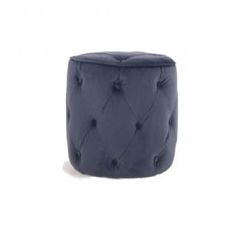 Button Navy velvet footstool