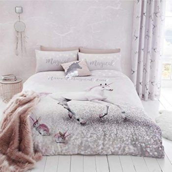 Catherine Lansfield Enchanted Unicorn Single Duvet Set Pink