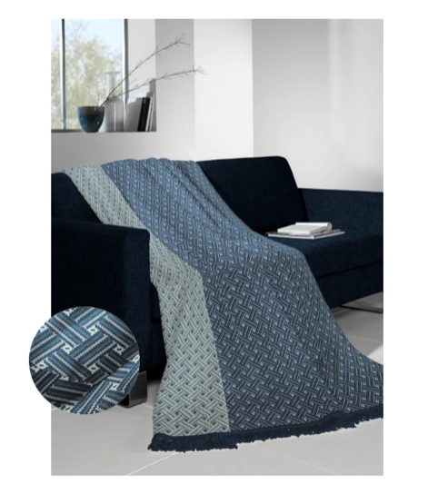 Biederlack fringe denim throw