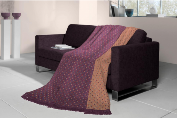 Biederlack Basketweave Fringe Berry Throw