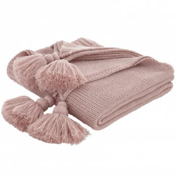 Catherine Lansfield tassel knit throw blush