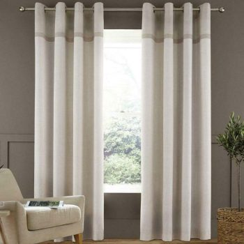 Catherine Lansfield Melville Woven Texture Natrual Eyelet Curtains 90x90