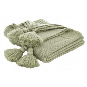 Catherine Lansfield tassel knit throw green