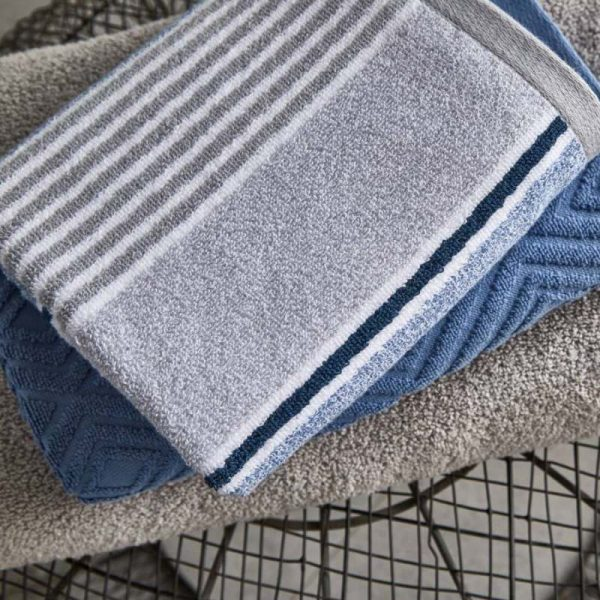 Catherine Lansfield Textured Stripe Towel Range – Blue