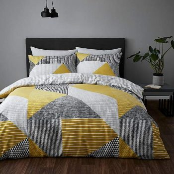 Catherine Lansfield Larsson Geo Easy Care King Duvet Set Ochre