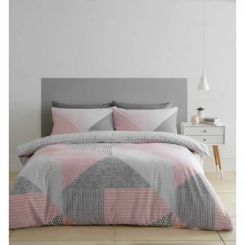Catherine Lansfield Larsson Geo Pink Easy Care Double Duvet Set