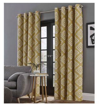Catherine Lansfield Aztec Eyelet Curtains Ochre