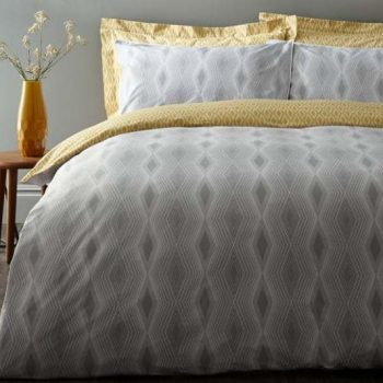 Ziggurat Double Quilt Set Grey/Ochre