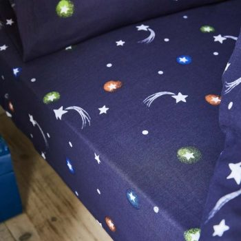 Catherine Lansfield Kids Happy Space Fitted Sheet - Navy Blue