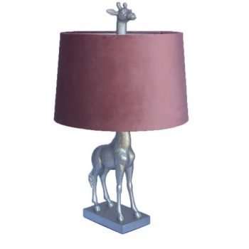 Antique Silver Giraffe Lamp With Blush Pink Velvet Shade