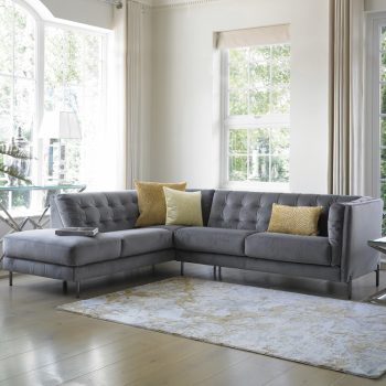 velvet grey corner sofa