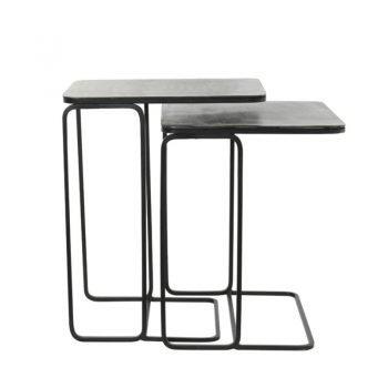 Laja Antique Lead Side Tables x 2