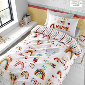 Transform your child's bedroom into a delightful dreamland with the Be A Rainbow duvet cover set from Catherine Lansfield.