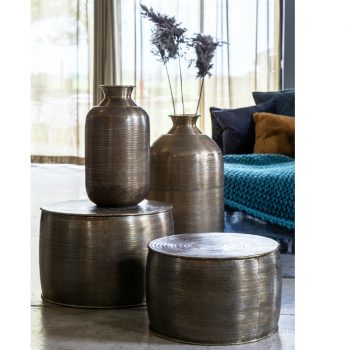 Orne 2 x Antique Silver Side Tables/Storage