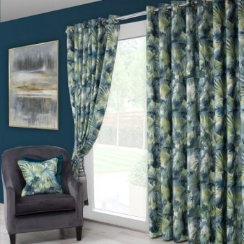 Scatter Box Aria Pair of Curtains, Teal/Green
